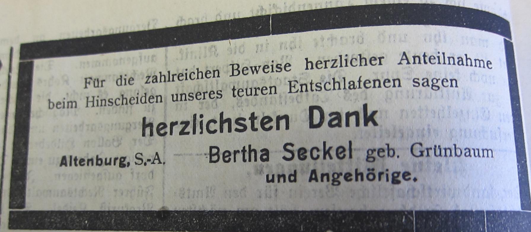 19.01.1911-B. Seckel Danksagung