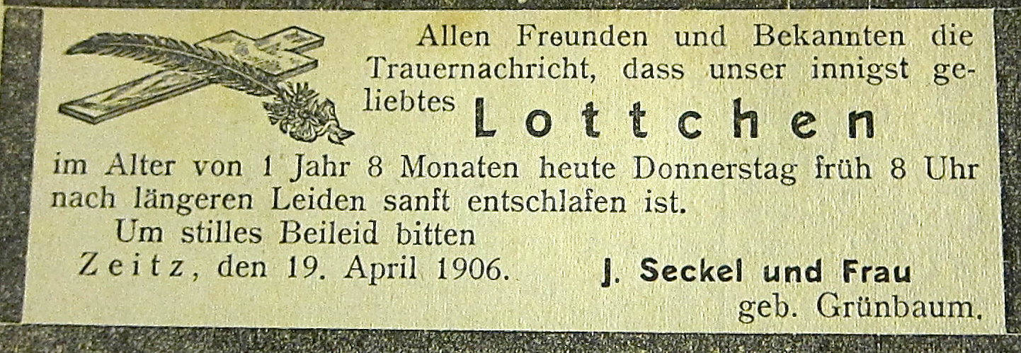 SECKEL, J-Lottchen April 22, 1906