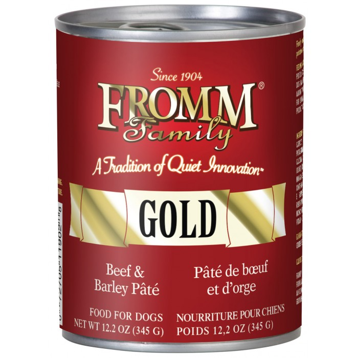 Fromm Gold Grain-Free Beef & Barley Pate Canned Dog Food 12.2z, 12