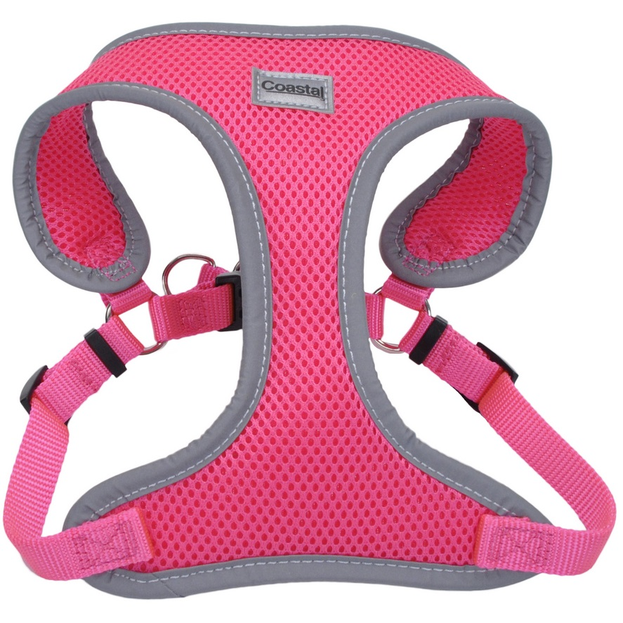 "Coastal 'Comfort Soft' Reflective Wrap Adjustable Dog Harness - MED - 3/4"" x 22""-28"", Neon Pink"