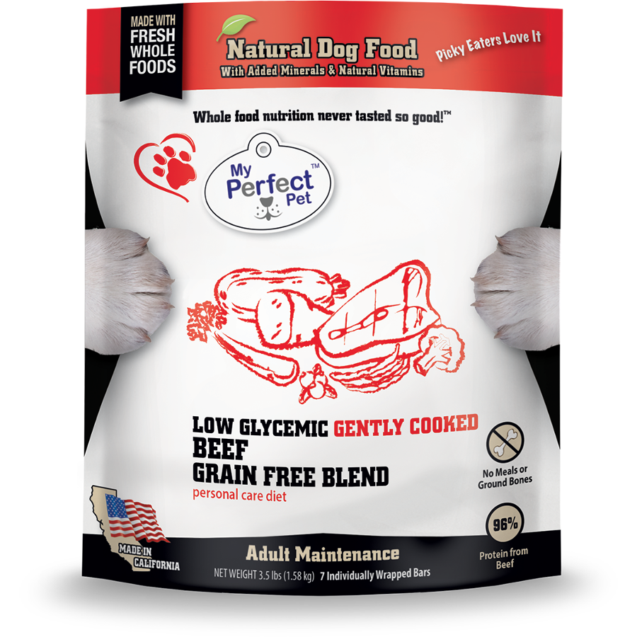 My Perfect Pet Low Glycemic Blend Beef & Vegetable Frozen Dog Food 3.5lbs
