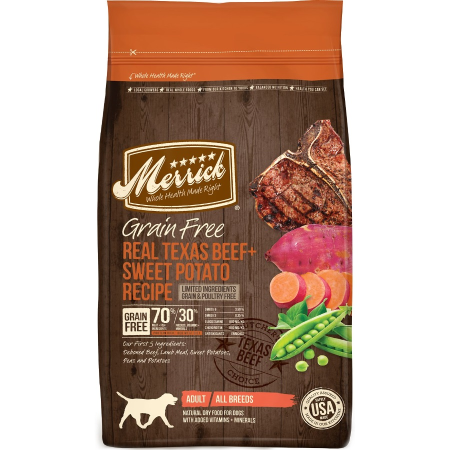 Merrick Grain-Free Real Texas Beef + Sweet Potato Recipe Dry Dog Food 25lbs
