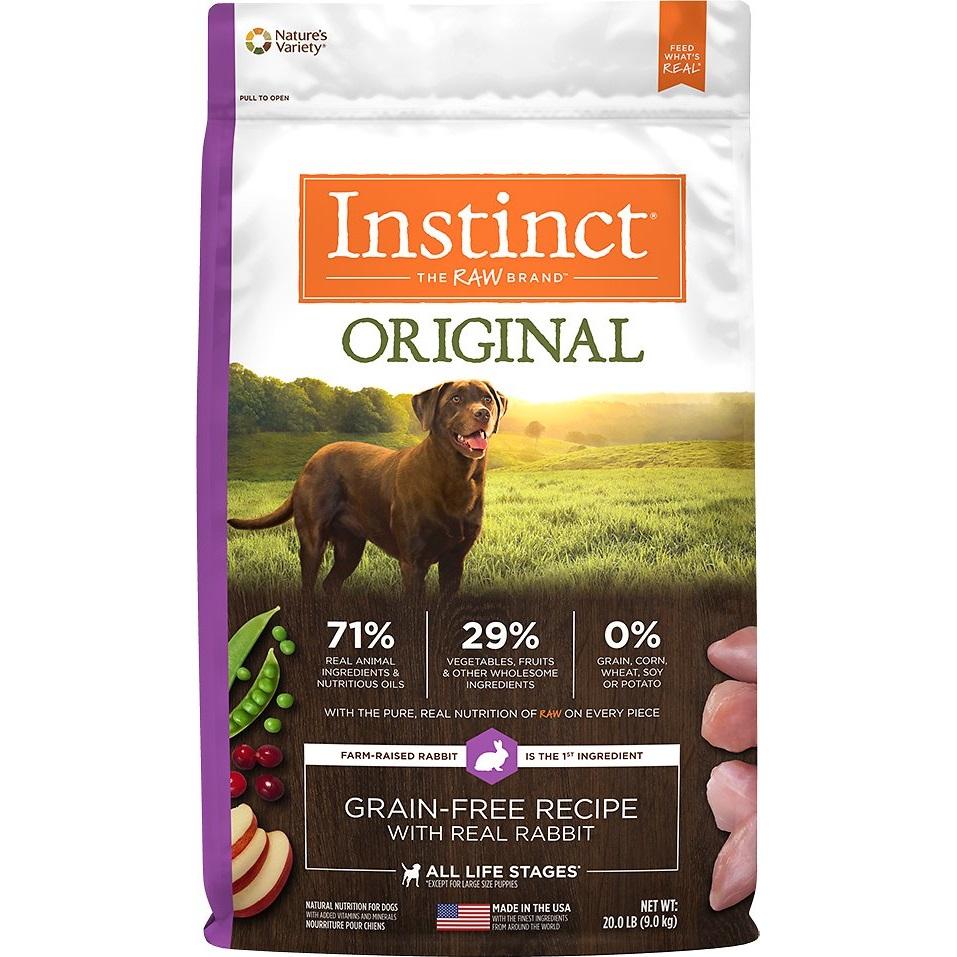 Nature's Variety Instinct Original Grain-Free Rabbit Dry Dog Food 20lbs