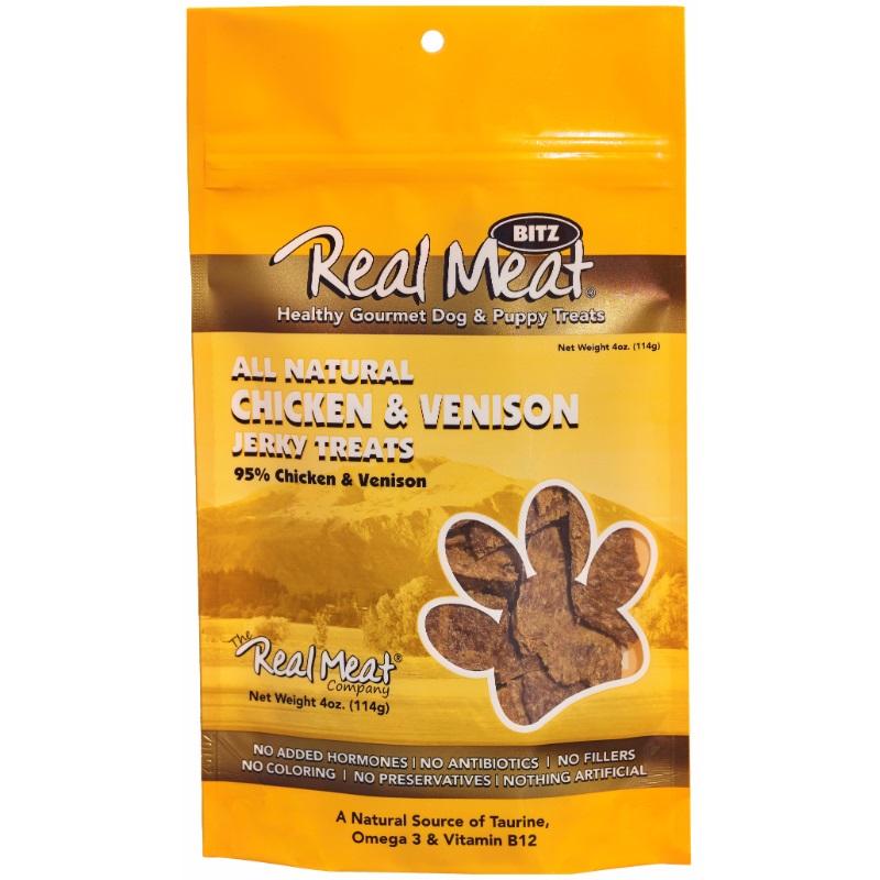The Real Meat Company Chicken & Venison Jerky Bitz Dog Treat 4z