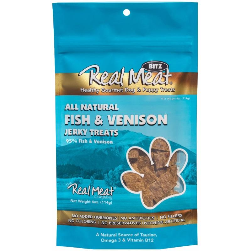The Real Meat Company Fish & Venison Jerky Bitz Dog Treat 4z