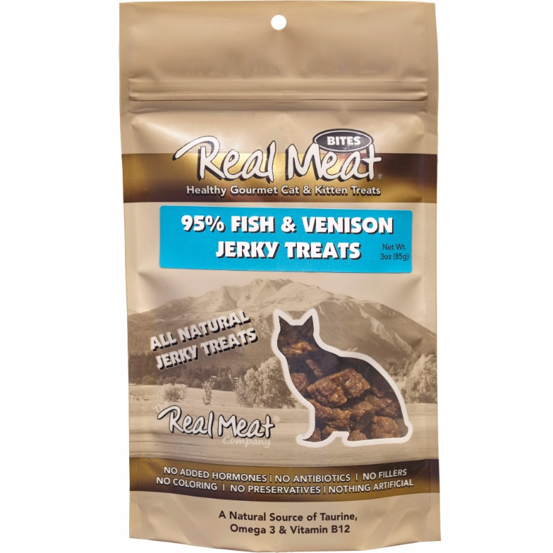 The Real Meat Company Fish & Venison Jerky Bites Cat Treats 3z