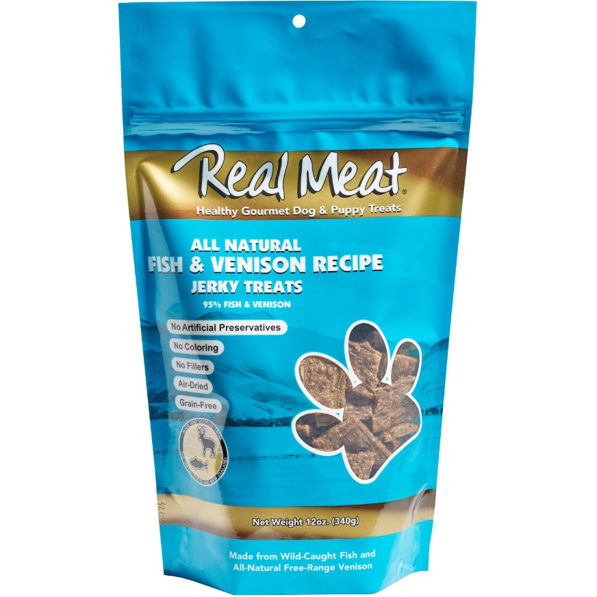 The Real Meat Fish & Venison Jerky Bitz Dog Treat 12z