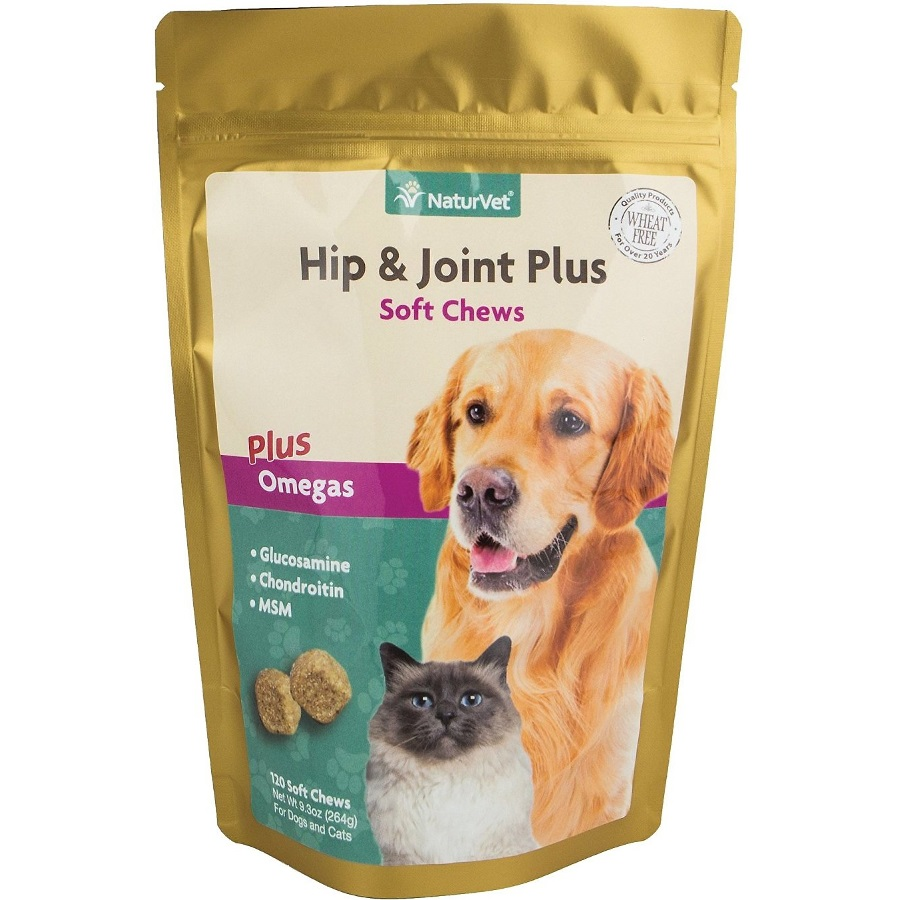 NaturVet Hip & Joint Plus Omegas Supplement for Dog & Cat - Soft Chews, 120 Count