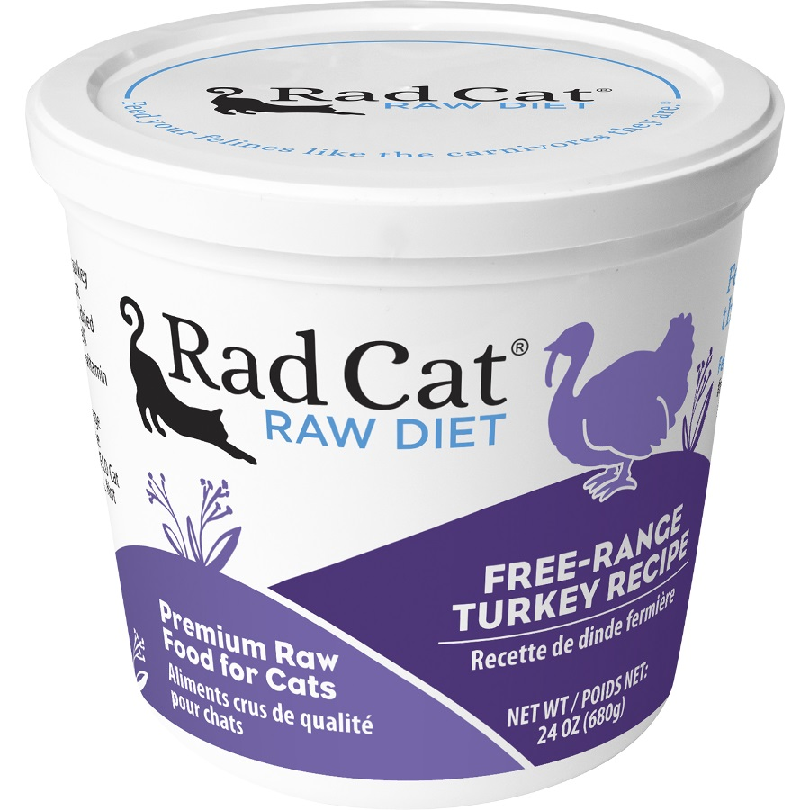 Rad Cat Free Range Turkey Grain-Free Raw Frozen Cat Food 24z
