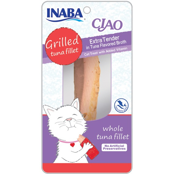 Ciao Grilled Tuna Fillet Extra Tender in Tuna Flavored Broth Cat Treat 0.5z, 6