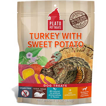 Plato Turkey with Sweet Potato Dog Treats 12z