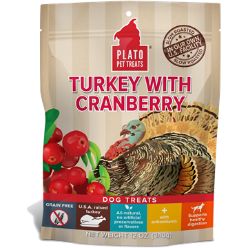 Plato Turkey with Cranberry Dog Treats 12z