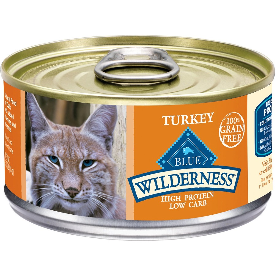 Blue Buffalo Wilderness Turkey Grain-Free Canned Cat Food 5.5z, 24