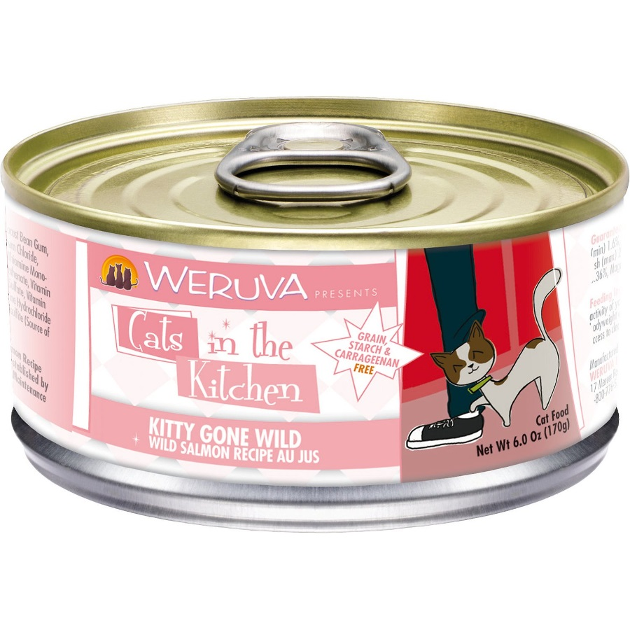 Weruva Cats in the Kitchen 'Kitty Gone Wild' Wild Salmon Au Jus Canned Cat Food 6z, 24