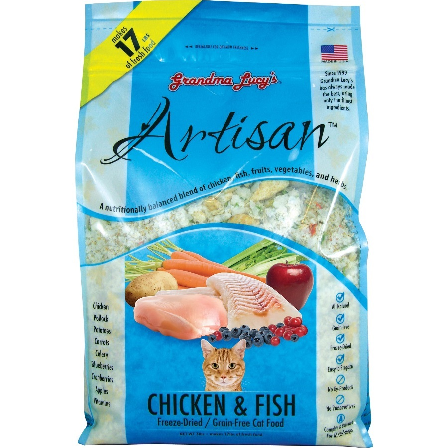 Grandma Lucy's Artisan Grain-Free Chicken & Fish Freeze-Dried Cat Food 3lbs