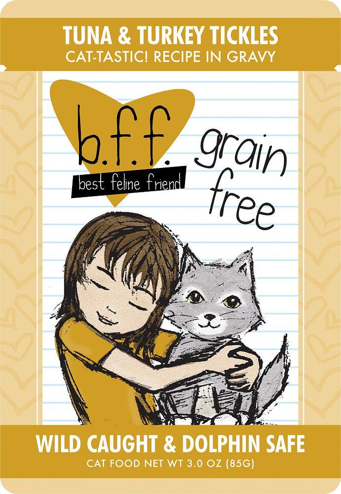 Weruva BFF Grain-Free Tuna & Turkey Tickles Recipe in Gravy Cat Food Pouches 3z, 12