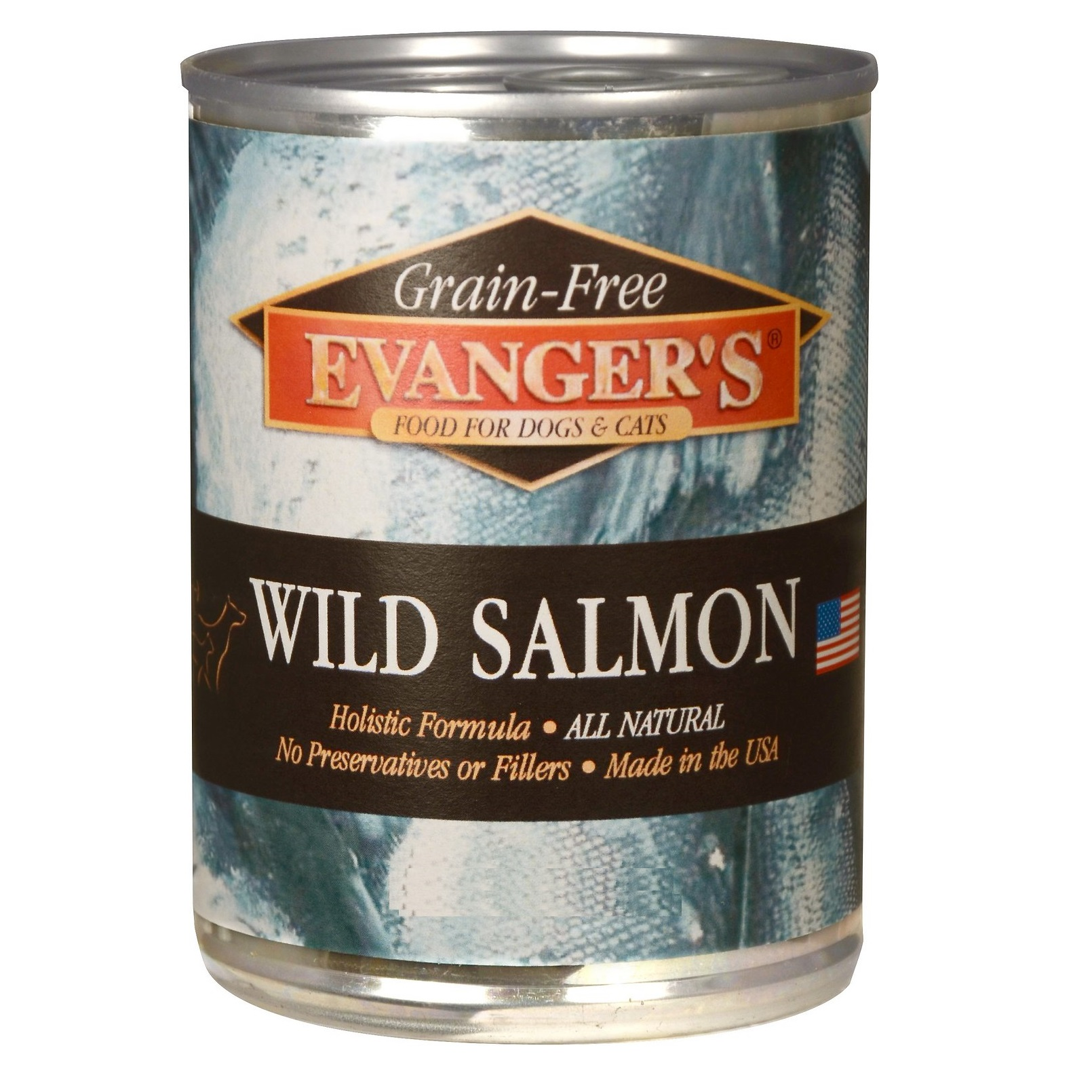 Evanger's Grain-Free Wild Salmon Canned Dog & Cat Food 13z, 12