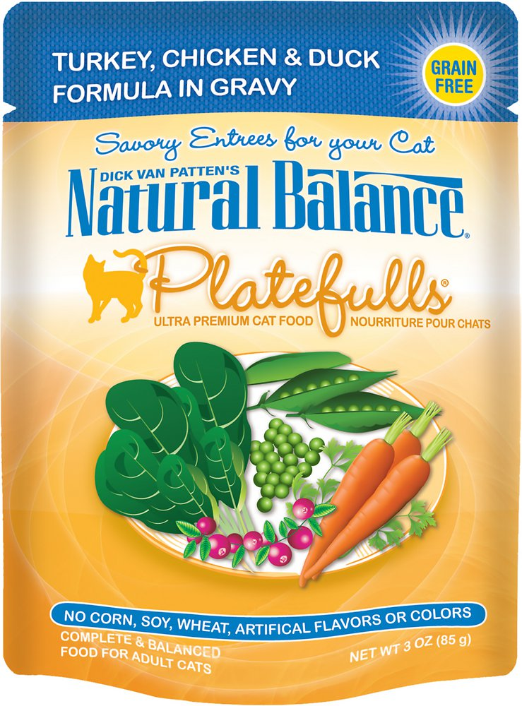 Natural Balance Platefulls Turkey, Chicken & Duck Formula in Gravy Grain-Free Cat Food Pouches 3z, 24