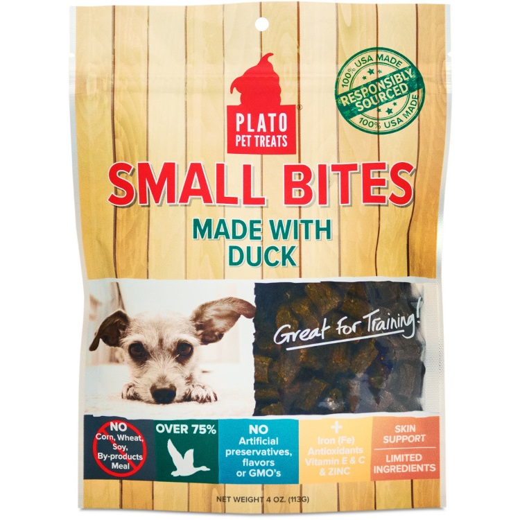 Plato Small Bites Duck Dog Treats 4z
