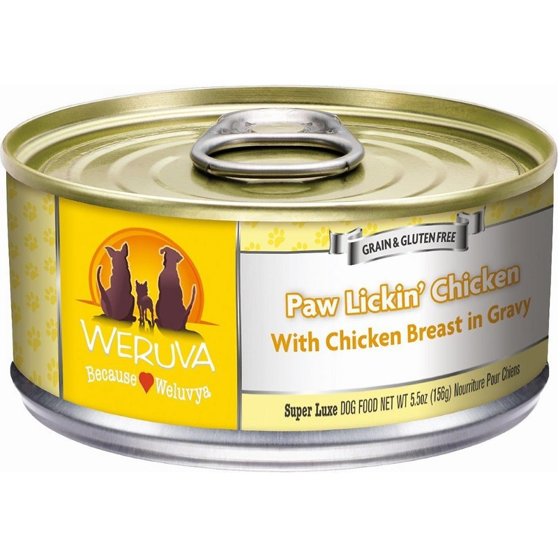 Weruva Paw Lickin' Chicken in Gravy Grain-Free Canned Dog Food 5.5z, 24