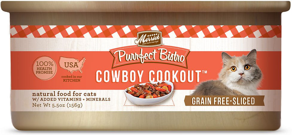 Merrick Purrfect Bistro Grain-Free Cowboy Cookout Morsels in Gravy Canned Cat Food 5.5z, 24