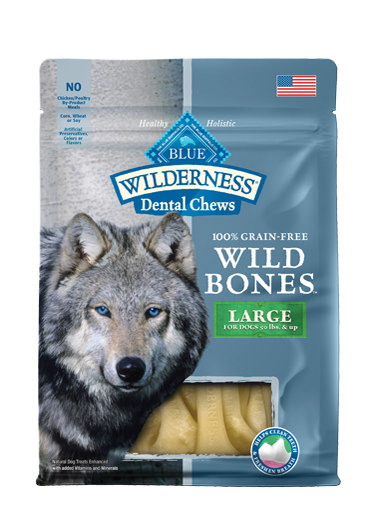 Blue Buffalo Wilderness Wild Bones Large Dental Chews Grain-Free Dog Treats 10z