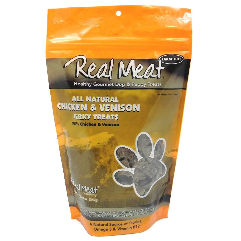 The Real Meat Chicken & Venison Jerky Bitz Dog Treat 12z