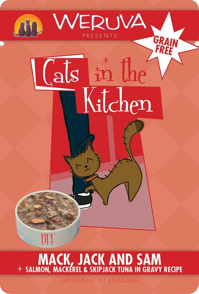 Weruva Cats in the Kitchen 'Mack, Jack & Sam' Salmon, Mackerel & Skip Jack Tuna in Gravy Cat Food Pouches 3z, 8