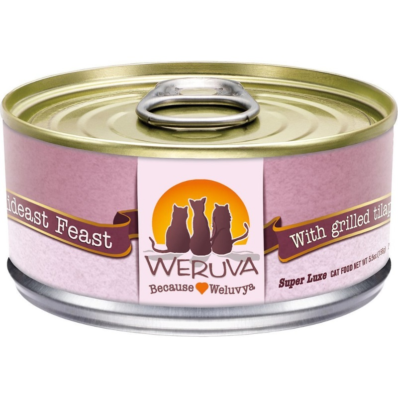 Weruva Grain-Free Mideast Feast with Grilled Tilapia in Gravy Canned Cat Food 5.5z, 24