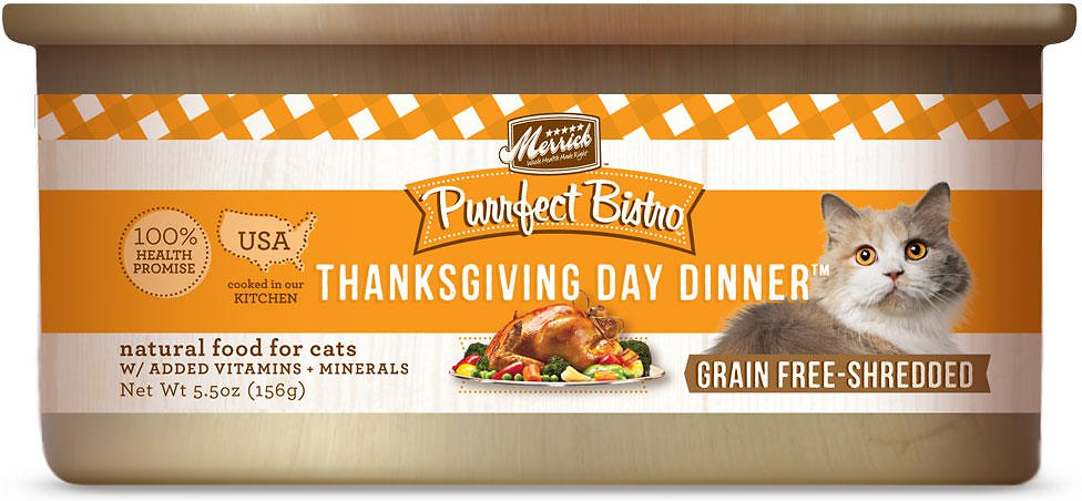 Merrick Purrfect Bistro Grain-Free Thanksgiving Day Dinner Minced in Gravy Canned Cat Food 5.5z, 24
