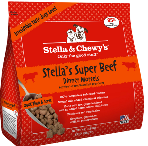 Stella & Chewy's Stella's Super Beef Dinner Morsels Grain-Free Raw Frozen Dog Food 4lbs