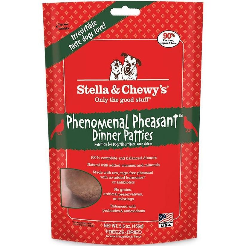 Stella & Chewy's Phenomenal Pheasant Dinner Patties Raw Freeze Dried Dog Food 5.5z