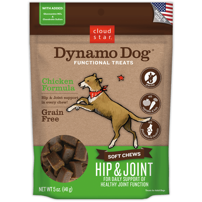 Cloud Star Dynamo Dog Hip & Joint Soft Chews Chicken Formula Grain-Free Dog Treats 5z