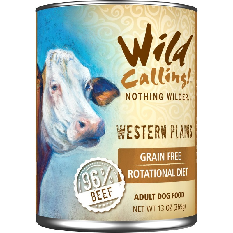 Wild Calling Western Plains 96% Beef Grain-Free Canned Dog Food 13z, 12