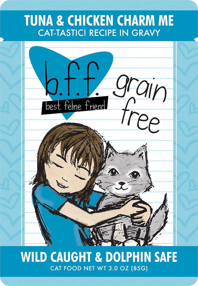 Weruva BFF Grain-Free Tuna & Chicken Charm Me Recipe in Gravy Cat Food Pouches 3z, 12