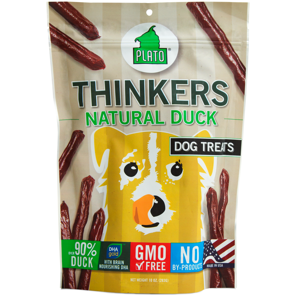 Plato Thinkers Sticks Natural Duck Dog Treats 10z