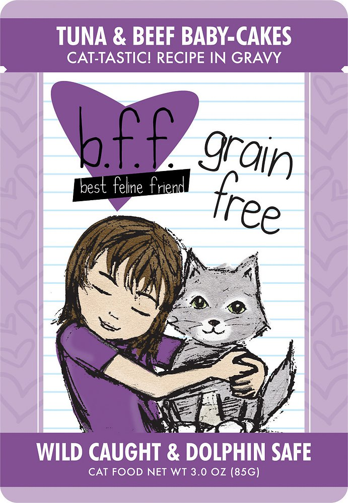 Weruva BFF Grain-Free Tuna & Beef Baby Cakes Recipe in Gravy Cat Food Pouches 3z, 12
