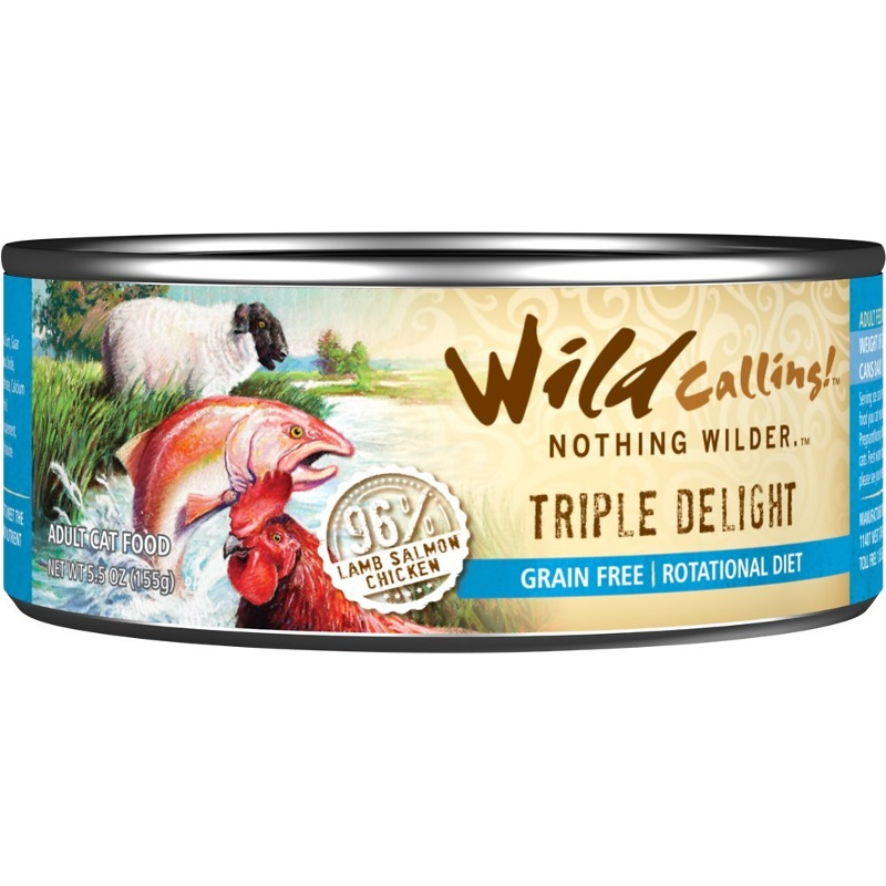 Wild Calling Triple Delight 96% Lamb, Salmon & Chicken Grain-Free Canned Cat Food 5.5z, 24