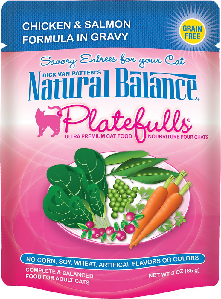 Natural Balance Platefulls Chicken & Salmon Formula in Gravy Grain-Free Cat Food Pouches 3z, 24