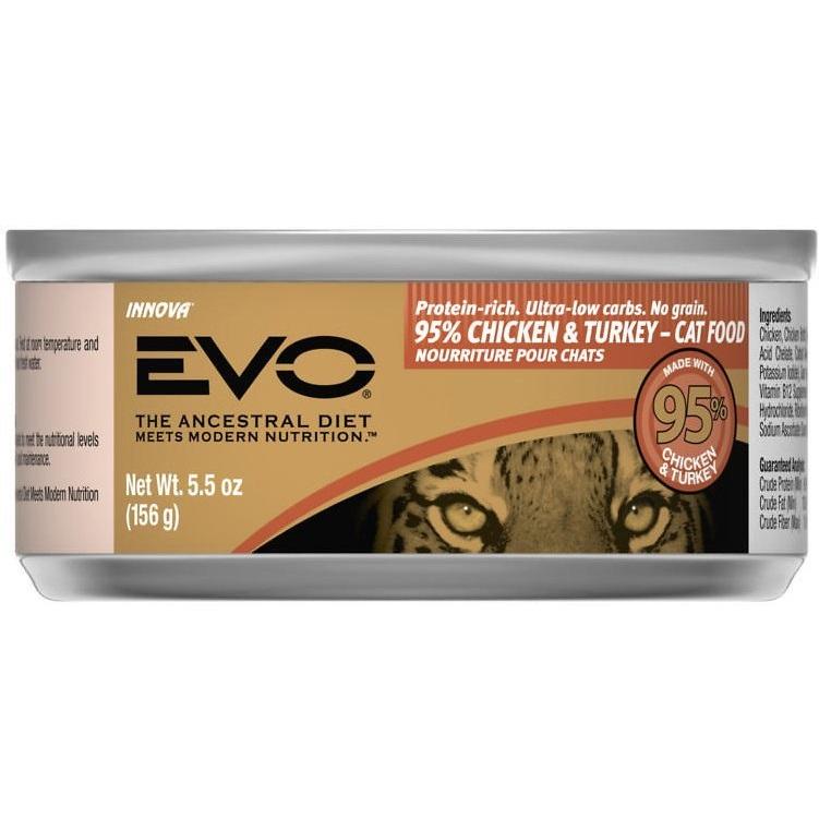 EVO Grain-Free 95% Chicken & Turkey Canned Cat Food 5.5z, 24
