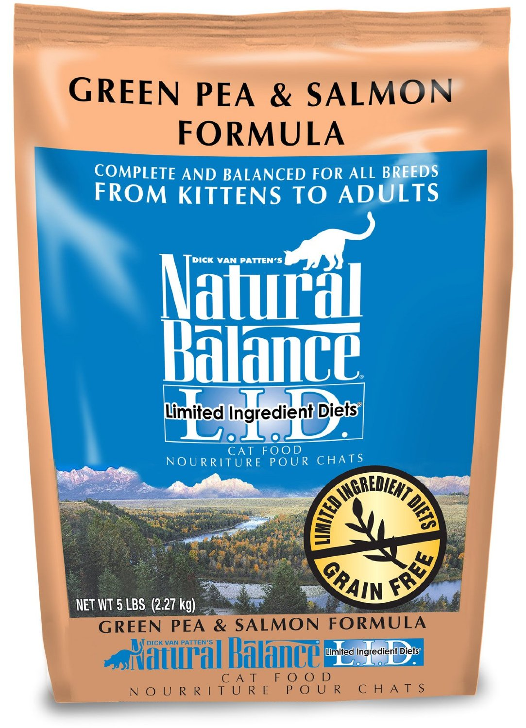 Natural Balance L.I.D. Limited Ingredient Diets Green Pea & Salmon Formula Grain-Free Dry Cat Food 5lbs