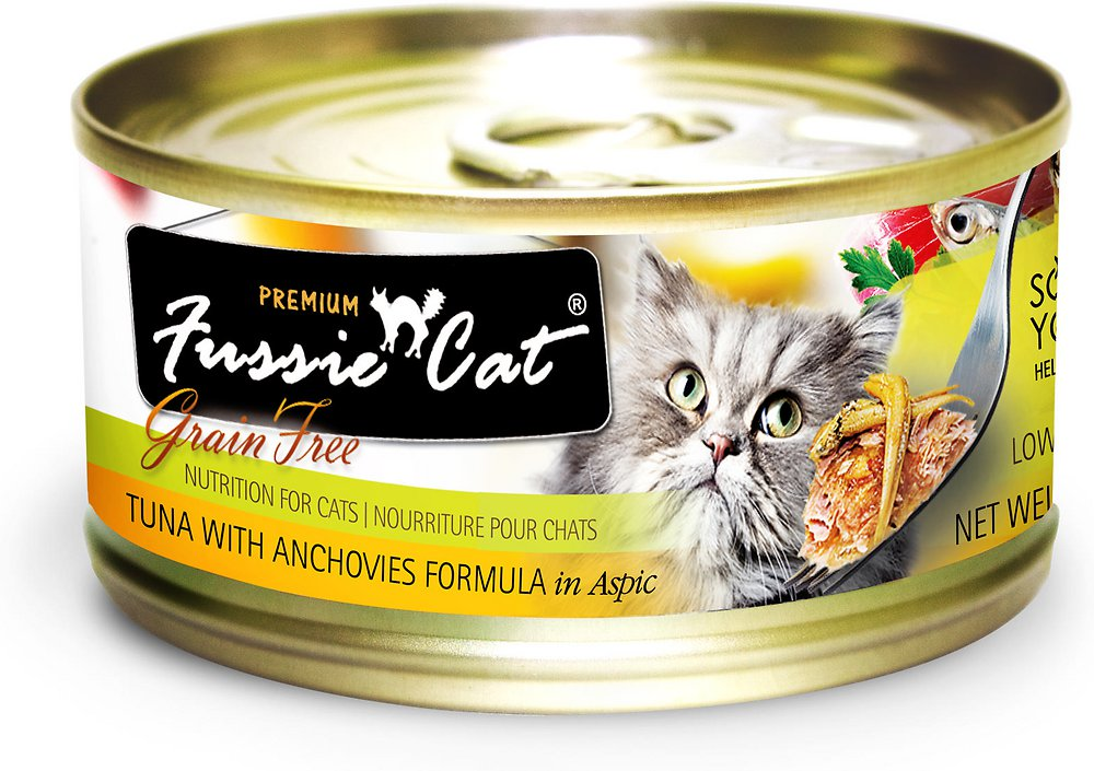 Fussie Cat Premium Grain-Free Tuna with Anchovies Formula in Aspic Canned Cat Food 2.8z, 24