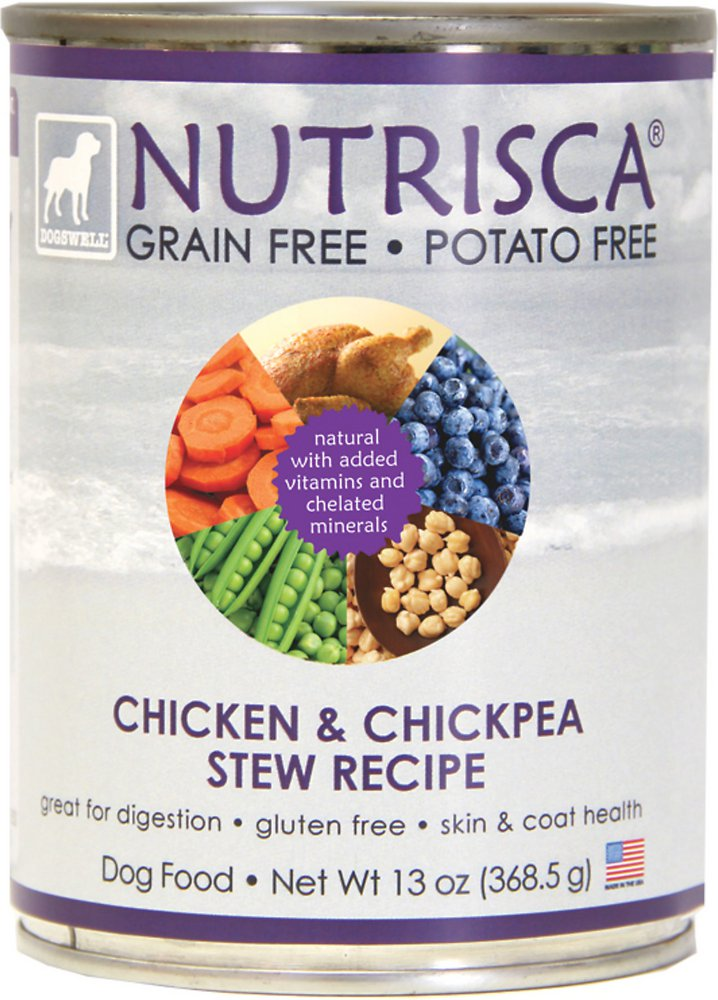 Dogswell Nutrisca Grain-Free Chicken & Chickpea Stew Recipe Canned Dog Food 13z, 12