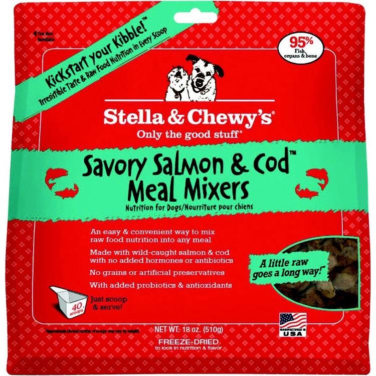 Stella & Chewy's Savory Salmon & Cod Meal Mixers Raw Freeze Dried Dog Food 18z
