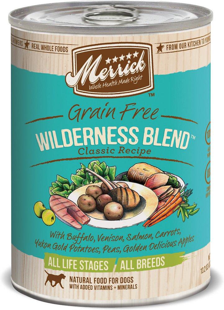 Merrick Classic Grain-Free Wilderness Blend Recipe Canned Dog Food 13.2z, 12