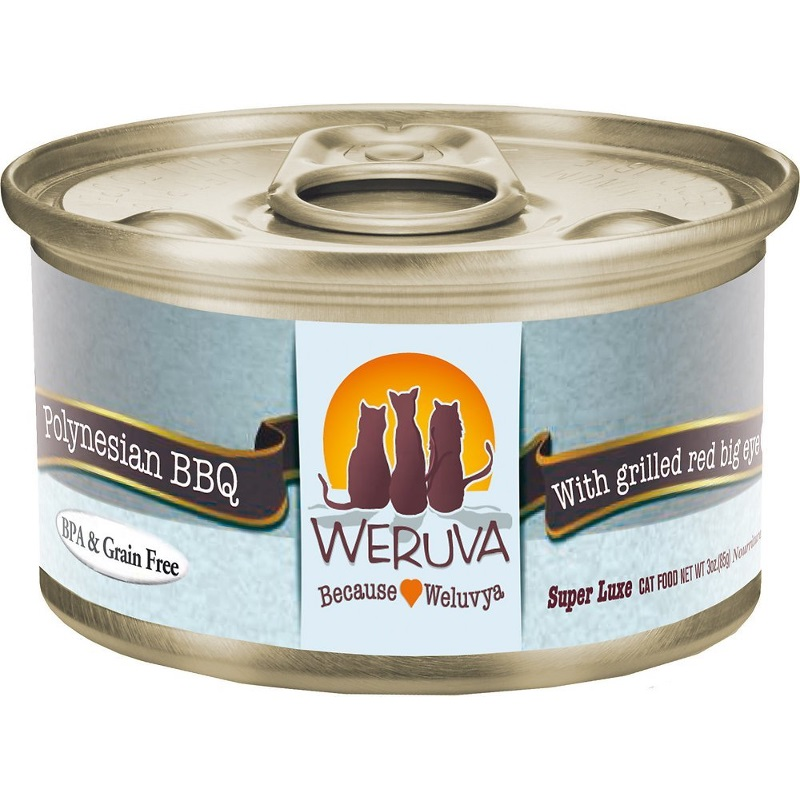Weruva Grain-Free Polynesian BBQ with Grilled Red Bigeye Canned Cat Food 3z, 24
