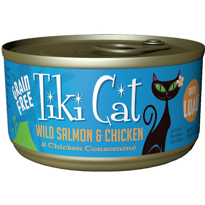 Tiki Cat Grain-Free Napili Luau Wild Salmon & Chicken in Chicken Consomme Canned Cat Food 2.8z, 12