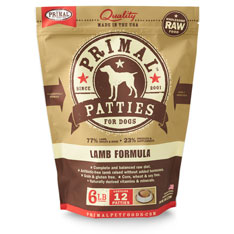 Primal Raw 12z Patties Lamb Formula Raw Frozen Dog Food 6lbs