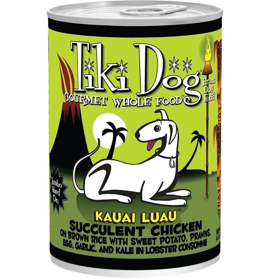 Tiki Dog Kauai Luau Succulent Chicken on Brown Rice with Tiger Prawns Canned Dog Food 14z, 12