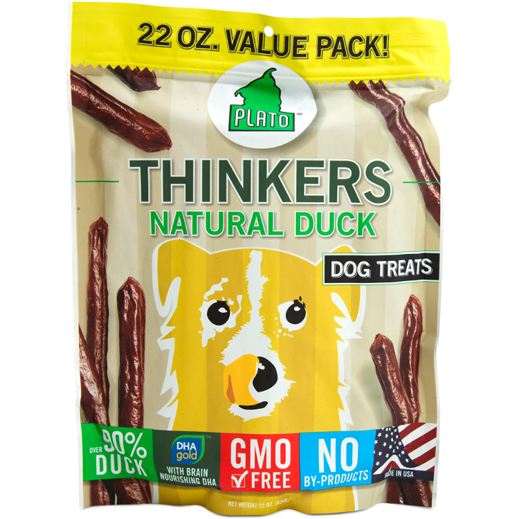 Plato Thinkers Sticks Natural Duck Dog Treats 22z